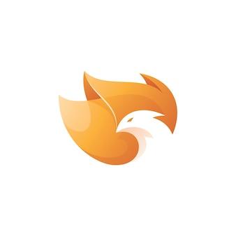 Logotipo da phoenix de cabeça de pássaro e asa de fogo