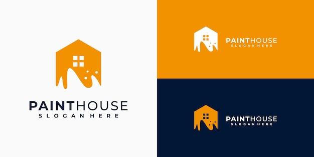 Logotipo da pintura de casa negócios de propriedades e residências