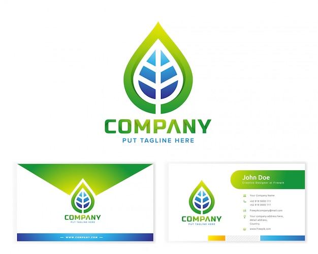 Logotipo da planta com cartão de visita de papelaria