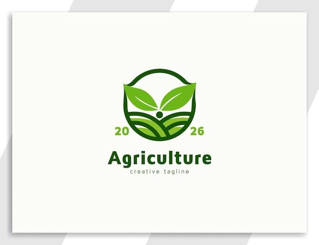 Logotipo da planta de broto de agricultura com desenho de ilustração de folhas