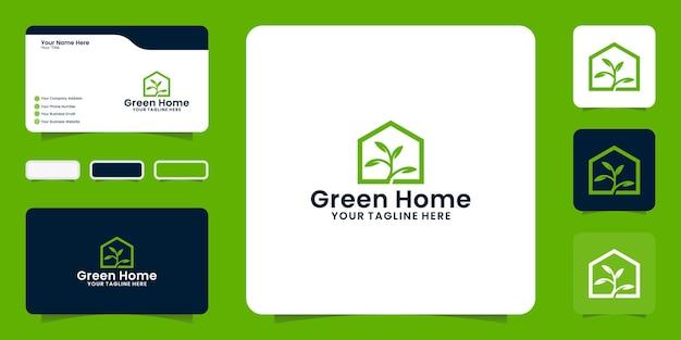 Logotipo da planta e da casa com inspiração de cartão de visita