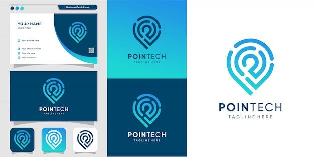 Logotipo da pointech com estilo de arte linha e modelo de design de cartão de visita, moderno, tecnologia, computador, ícone