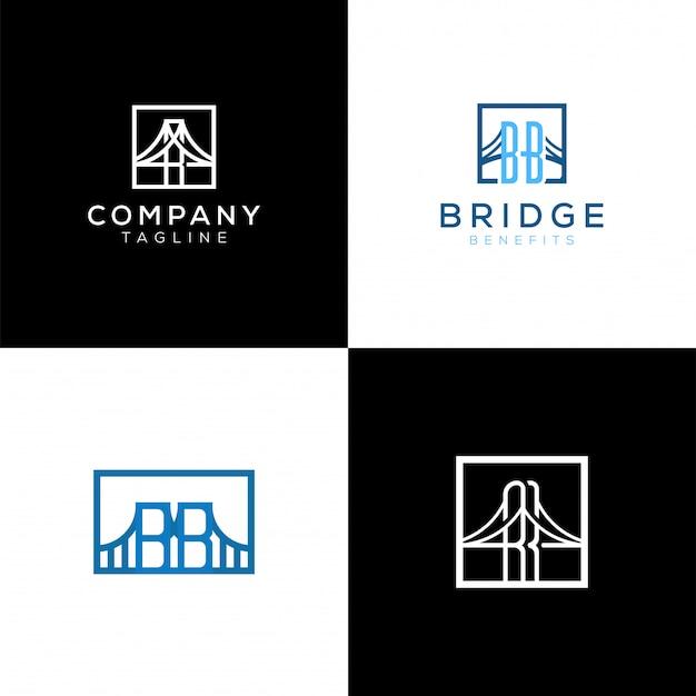 Logotipo da ponte moderna profissional em preto e branco