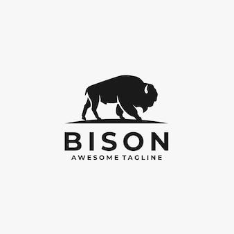 Logotipo da pose da silhueta do bisonte