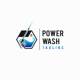 Logotipo da power wash com conceito de hexágono