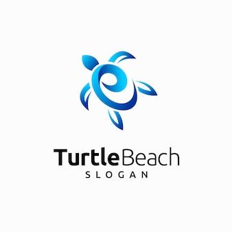 Logotipo da praia da tartaruga com conceito de oceano