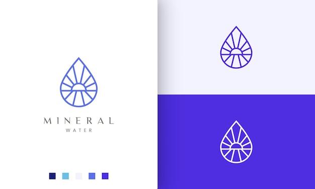 Logotipo da praia ou água em linha mono simples e estilo moderno