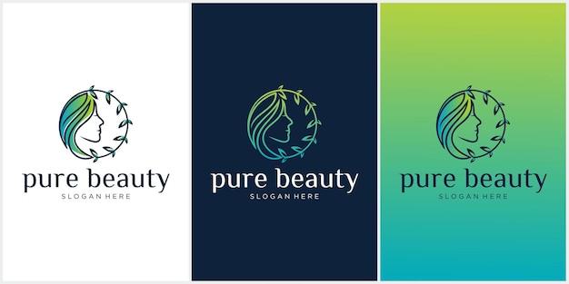 Logotipo da pure beauty logotipo da folha da beleza