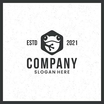 Logotipo da rã, para marcas registradas, ícone, fofo, com conceito de hexágono