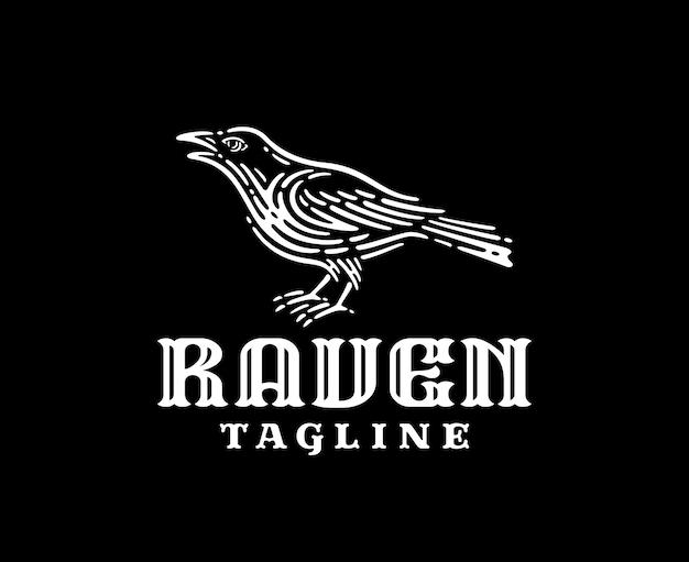Logotipo da raven em design vintage