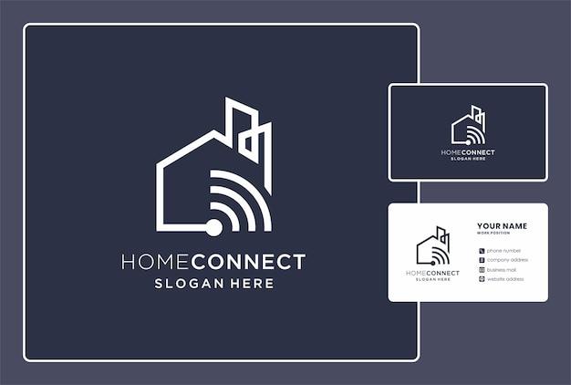 Logotipo da rede doméstica e design de cartão de visita.