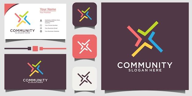 Logotipo da relação social da comunidade e vetor do cartão de visita