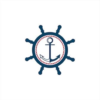 Logotipo da roda do navio simples moderno