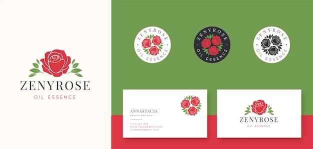 Logotipo da rosa vermelha e crachá com design de cartão de visita