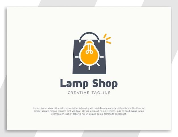 Logotipo da sacola de compras com lâmpada