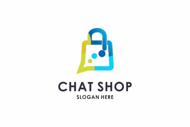 Logotipo da sacola de compras, logotipo colorido da sacola de bate-papo