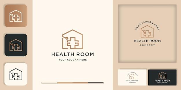 Logotipo da sala médica, estetoscópio combinam cruz e casa