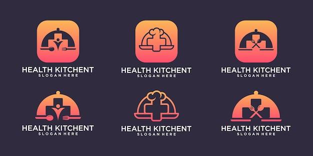 Logotipo da saúde kitchent com design de cartão de visita premium