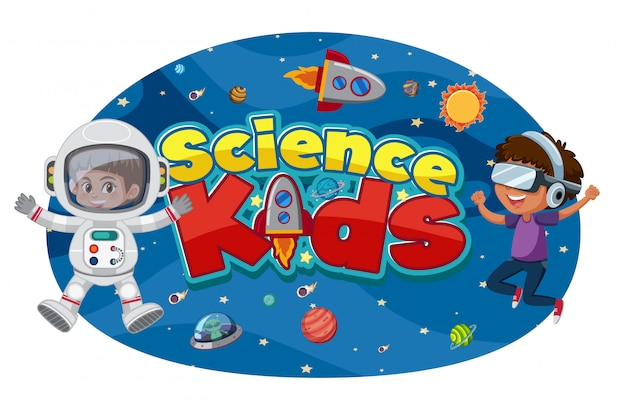 Logotipo da science kids com astronautas e objetos espaciais