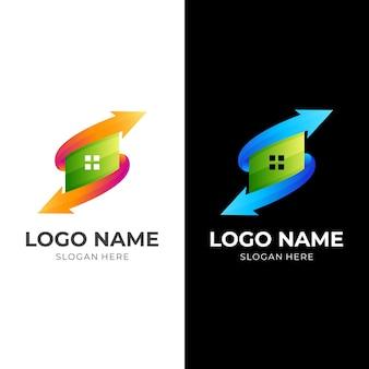 Logotipo da seta da casa, casa e seta, logotipo da combinação com estilo colorido 3d