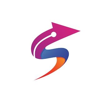 Logotipo da seta da letra s