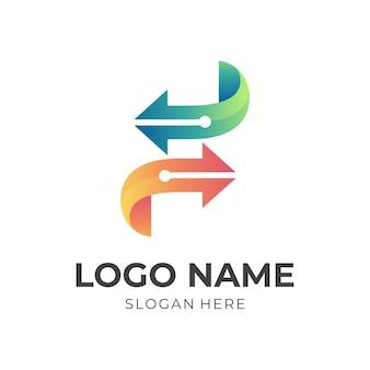 Logotipo da seta s tech, letra s, seta e tecnologia, logotipo de combinação com estilo colorido 3d