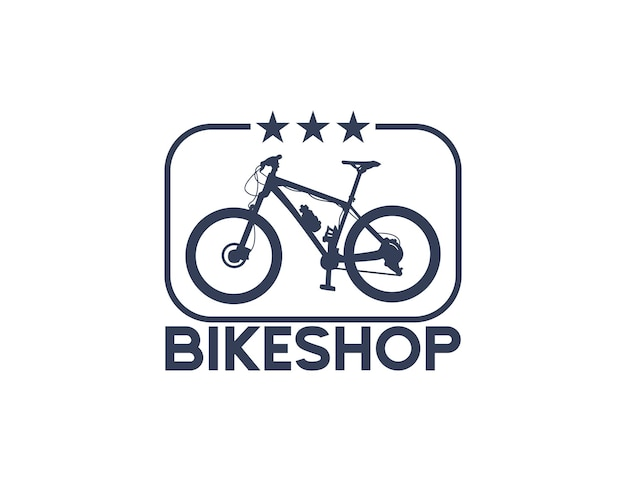 Logotipo da silhueta da bicicleta da loja de bicicletas