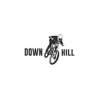 Logotipo da silhueta da bicicleta em declive