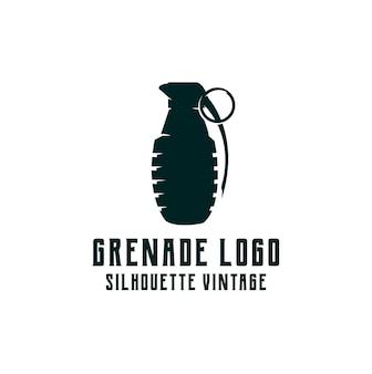 Logotipo da silhueta da granada retrô vintage