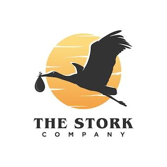Logotipo da silhueta de cegonha