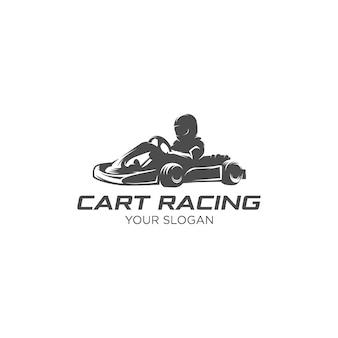 Logotipo da silhueta de corrida de carrinho de esporte