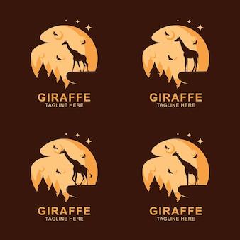 Logotipo da silhueta de girafa na lua