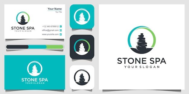 Logotipo da silhueta de pedra da ioga, massagem e tratamento médico tradicional