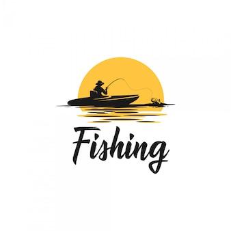 Logotipo da silhueta de pesca