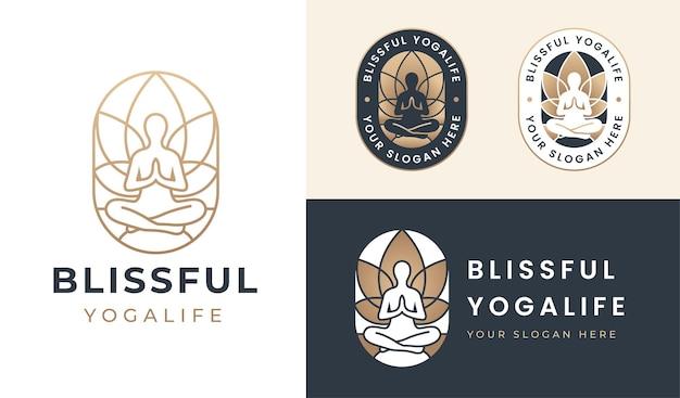 Logotipo da silhueta de pose de ioga florescendo fundo de flor de lótus
