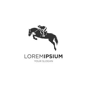 Logotipo da silhueta do esporte de cavalo