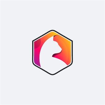 Logotipo da silhueta do gato