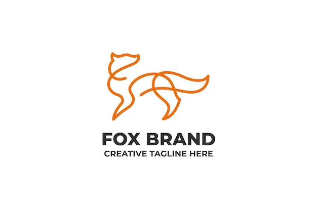 Logotipo da simple fox silhouette one line