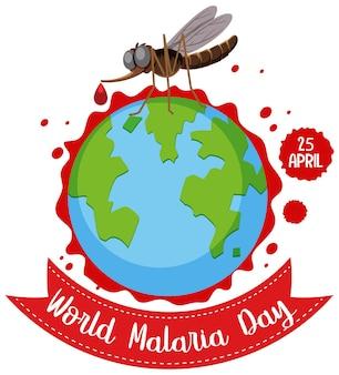 Logotipo da stop malaria ou banner com mosquito no fundo do mapa mundial