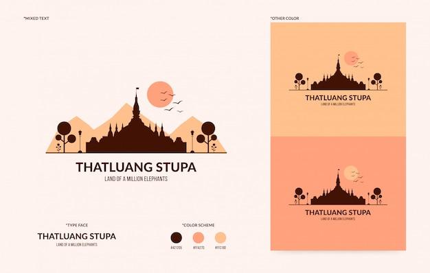 Logotipo da stupa de thatluang, símbolo nacional do laos