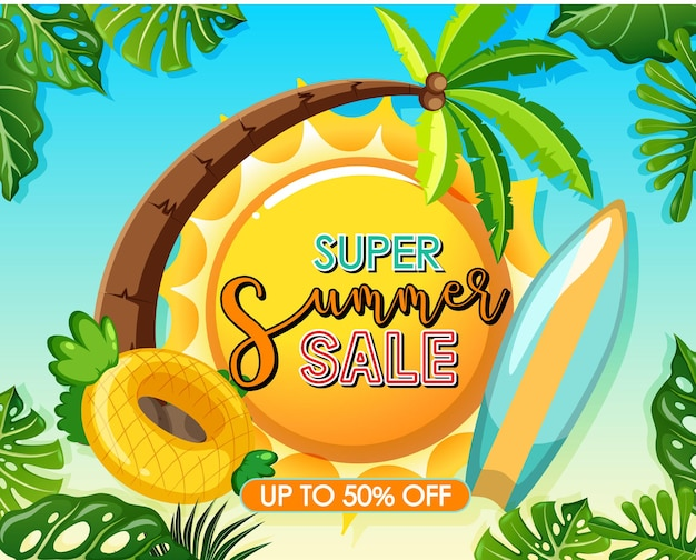 Logotipo da super venda de verão com modelo de banner de folhas tropicais