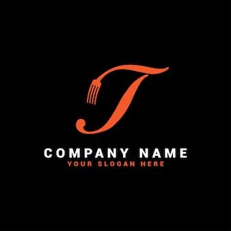 Logotipo da t food letter com o símbolo do garfo