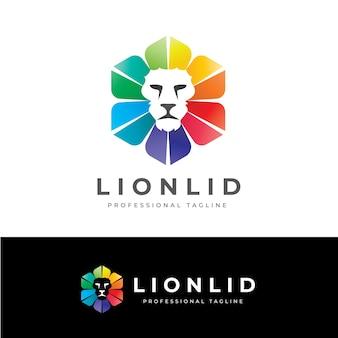 Logotipo da tampa do leão-hexágono
