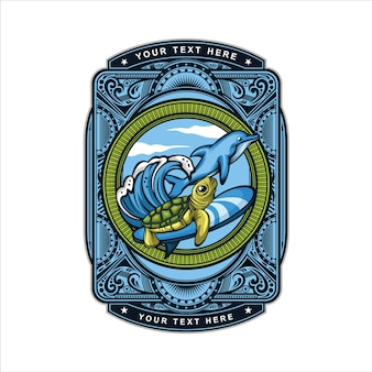 Logotipo da tartaruga surf