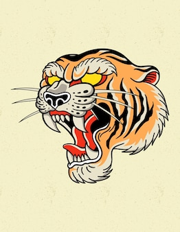Logotipo da tatuagem do tigre à moda antiga