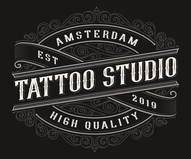 Logotipo da tatuagem vintage no fundo escuro. todos os itens e textos estão em grupos separados