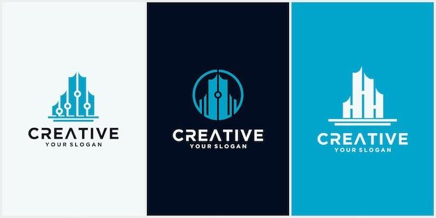 Logotipo da tech city. símbolo de modelo de design de logotipo de tecnologia de construção, emblema, conceito de design, símbolo criativo, ícone