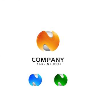 Logotipo da tecnologia 3d abstrata