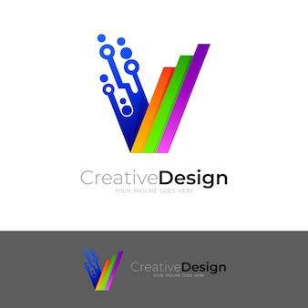 Logotipo da tecnologia com desenho da letra v, linha e ícones coloridos