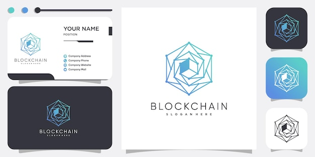 Logotipo da tecnologia com design de conceito de blockchain premium vector